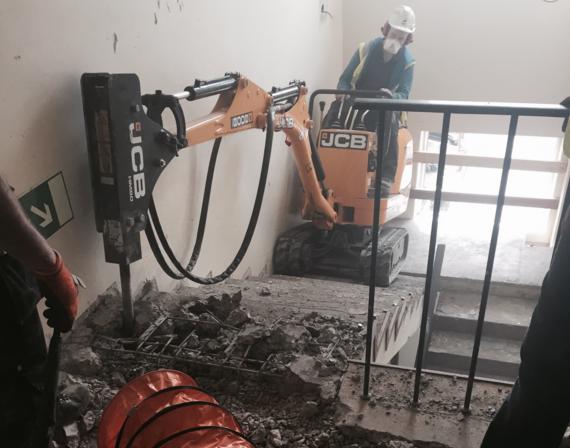 Noleggio di estrattori d'aria per una demolizione sotterranea
