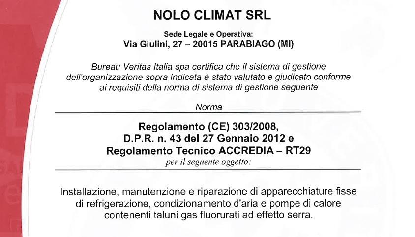 nolo climat ottiene il certificato di conformit bureau veritas italia spa blog di nolo climat. Black Bedroom Furniture Sets. Home Design Ideas