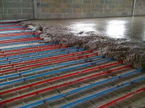 Scaldamassetti elettrici per un complesso sportivo in costruzione